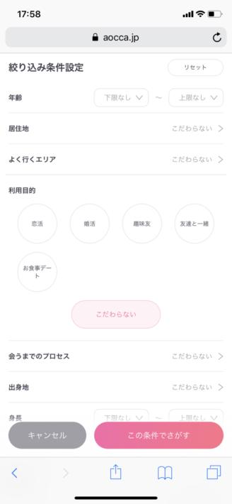 アオッカ検索画面